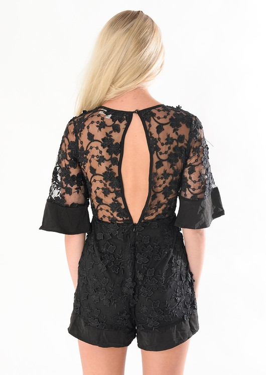 Penelope Black Embroidered flower Playsuit