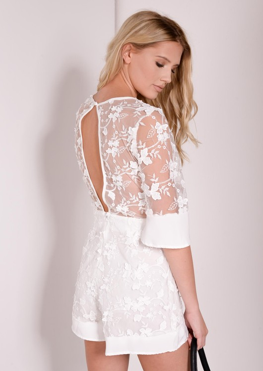 Penelope White Embroidered flower Playsuit