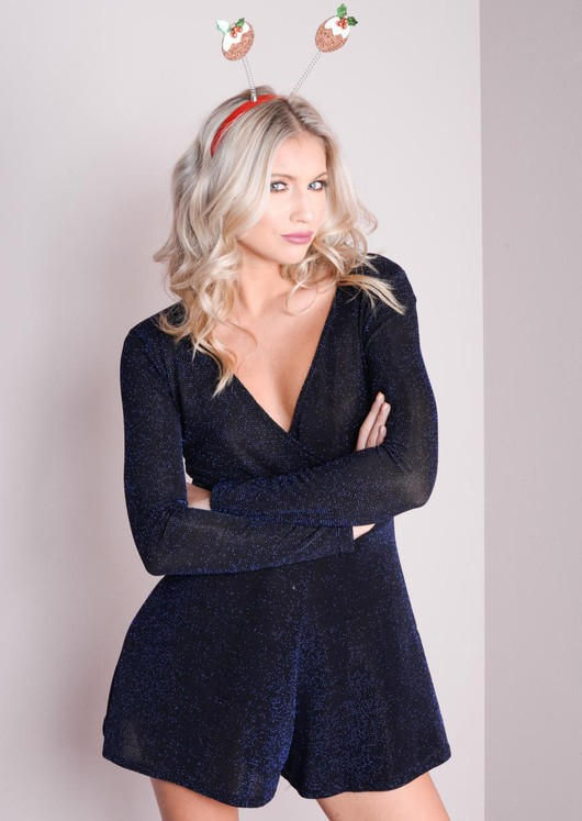 Plunge Neck Full Sleeve Blue Glitter Playsuit Black