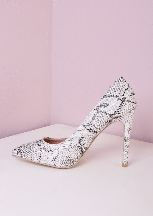 Pointed Stiletto Court Heels Monochrome Snake Skin Print
