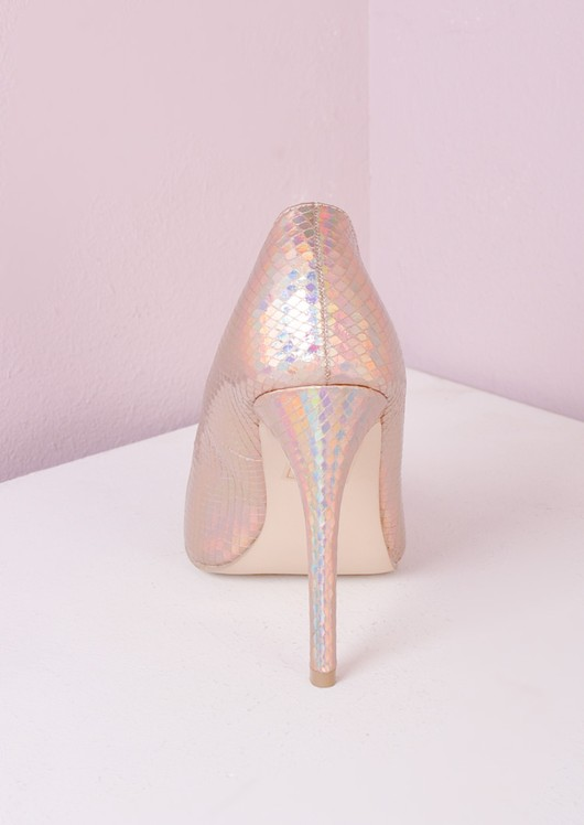 Pointed Stiletto Court Heels Rose Gold Hologram
