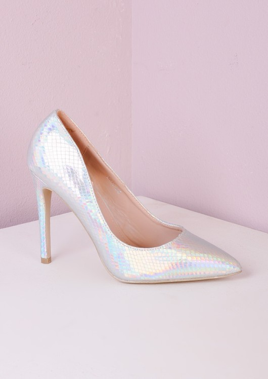 Pointed Stiletto Court Heels Silver Hologram