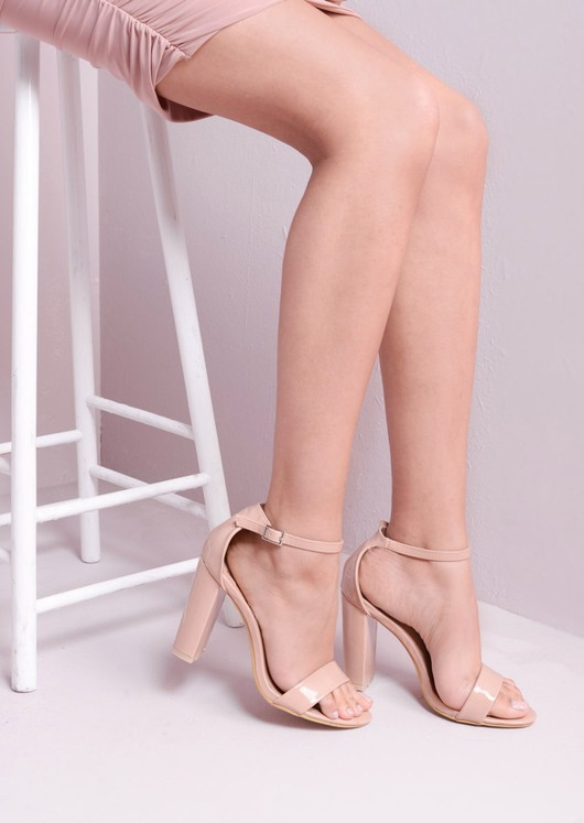 03c1f6ae6d2 Pointed Strappy Chunky Heeled Sandals Nude