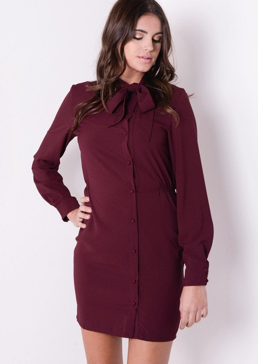 Pussy Bow Tie Neck Button Up Chiffon Dress Burgundy