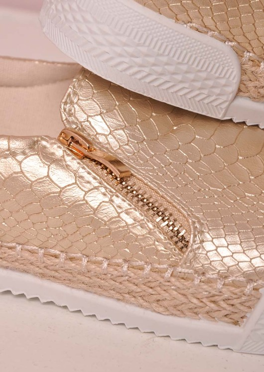 Raffia Braided Trim Snake Print Slip On Sneaker Pumps Gold