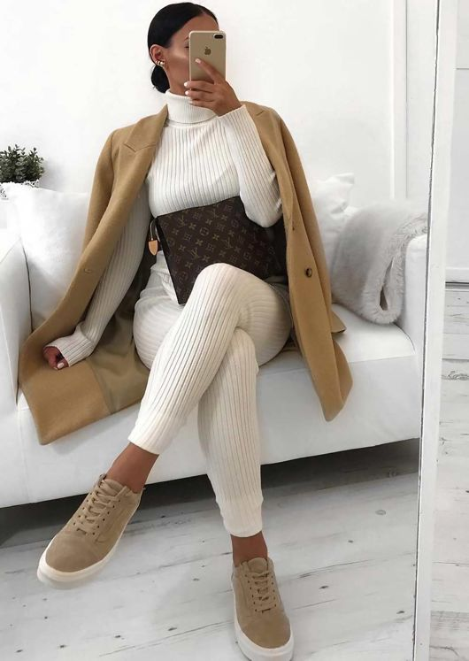 Rib Knit Roll Neck Loungewear Co ord Set White