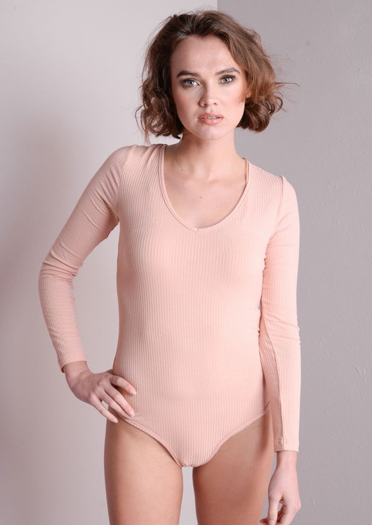 Ribbed Long Sleeve Bodysuit With Lace Up Back Pink