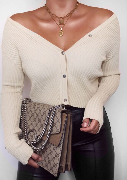 Ribbed Button Down Crop Cardigan Knitted Top Beige