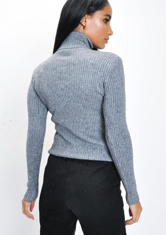 Ribbed Turtleneck Knit Jumper Top Grey