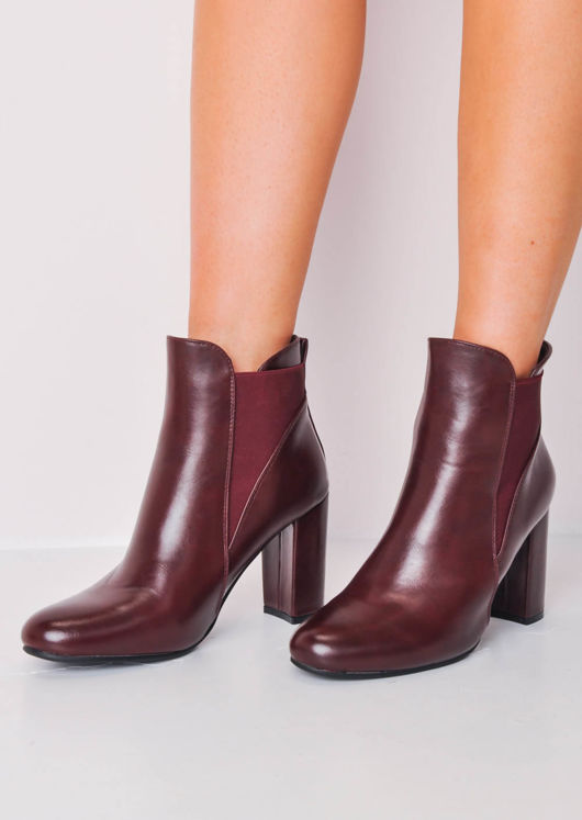 Faux Leather Block Heel Chelsea Ankle Boots Burgundy Red