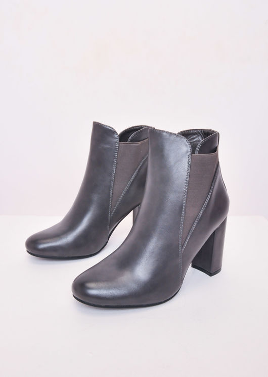 Faux Leather Block Heel Angled Chelsea Ankle Boots Grey