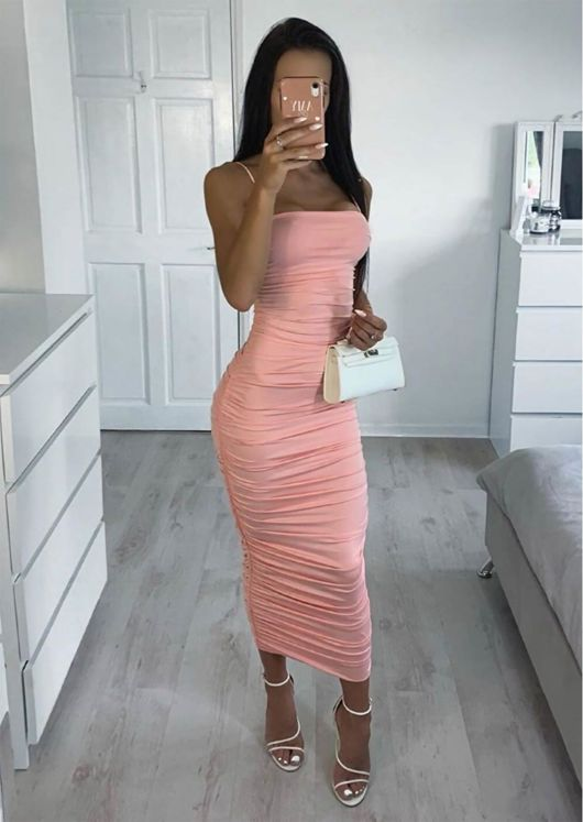 Ruched Slinky Skinny Straps Bodycon Midaxi Dress Pink by Lily Lulu Fashion