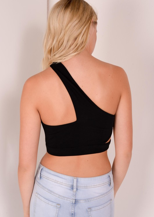 c2086b7460 Sabrina Black Cut Out Bralet With Asymmetric Shoulder Srap