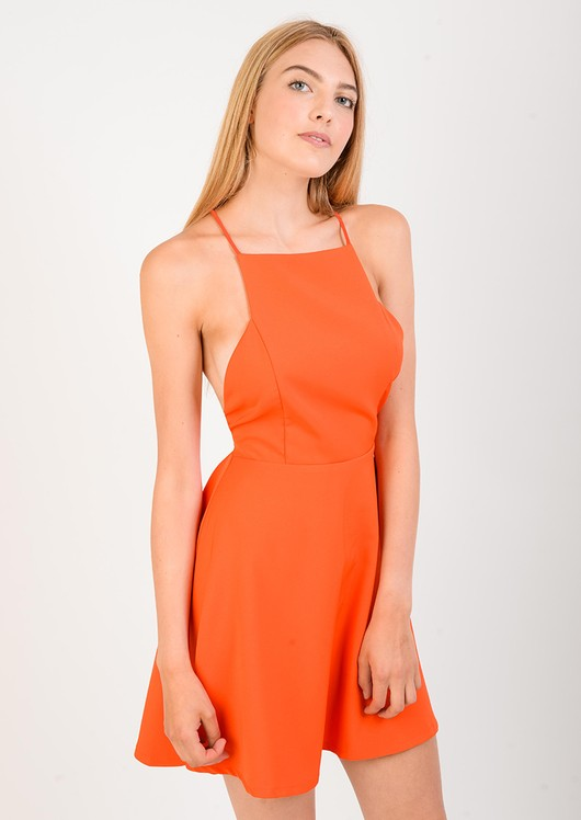Sara Orange A-line Cut Out Dress
