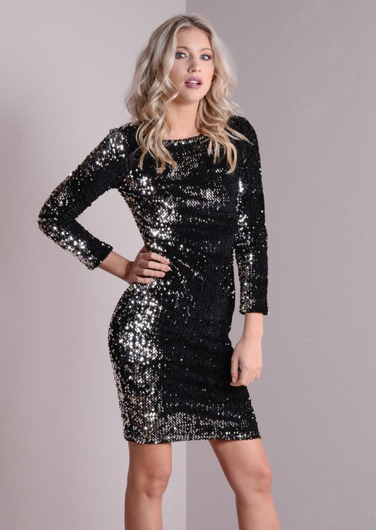 ddf81274aee Scoop Back Sequin Mini Dress Black