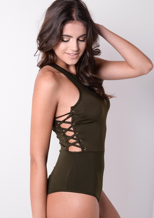 Scoop Neck Side Lace Up Sleeveless Bodysuit Khaki