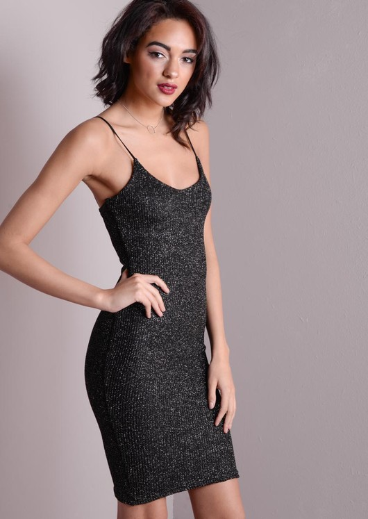 Scoop Neck Strappy Glitter Bodycon Dress Black