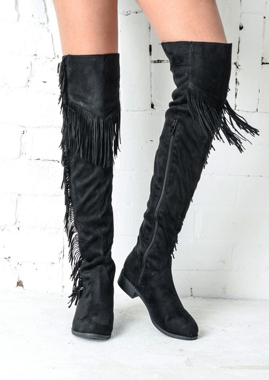 49f83c2a69c Siara Fringed Over The Knee Thigh High Long Boots Black4.jpg