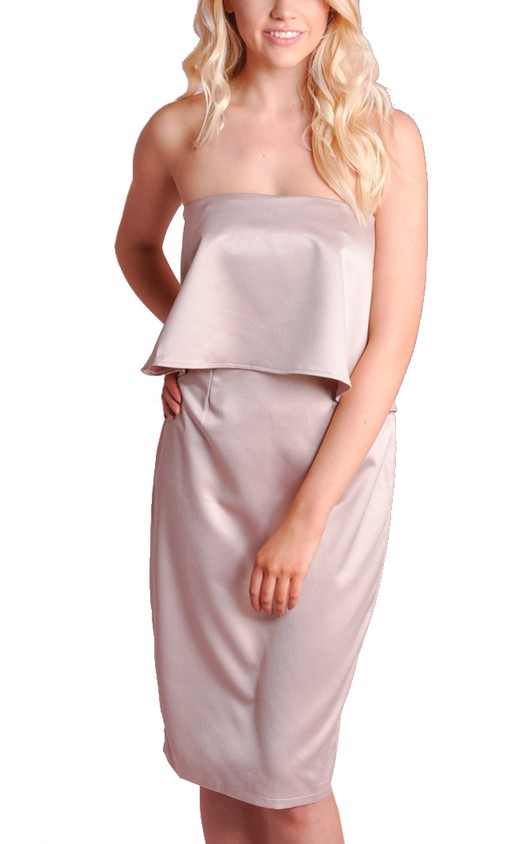 Silk Double Layer Bandeau Split Back Dress Champagne