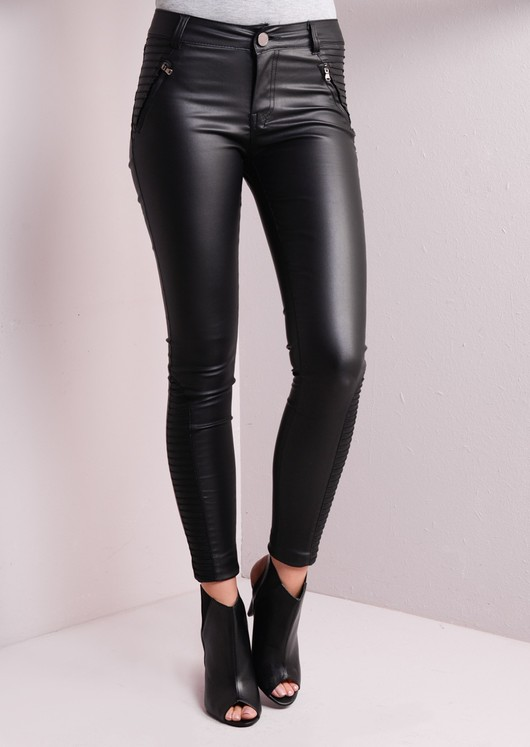 Ribbed Detailing Skinny Leather Trousers