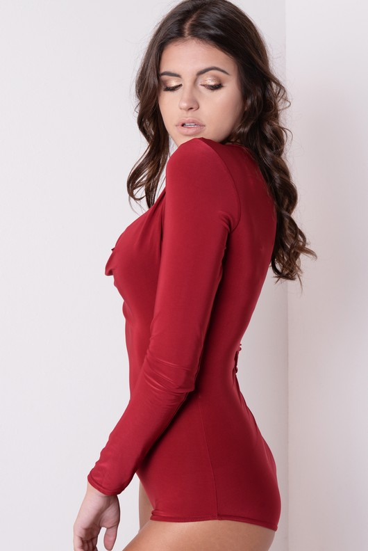 Slinky Cowl Neck Full Sleeve Bodysuit Burgundy