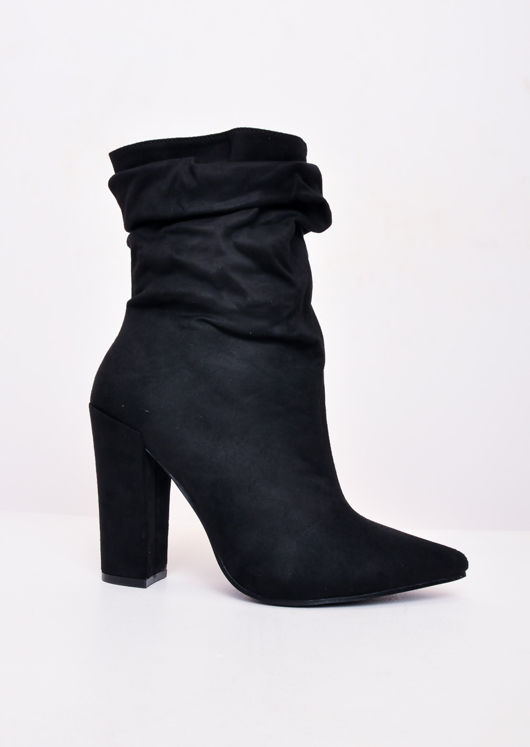 Slouchy Ruched Block Heel Pointed Suede Ankle Boots Black