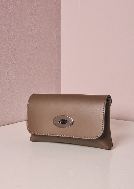 Small Leather Clutch Chain Bag Gold