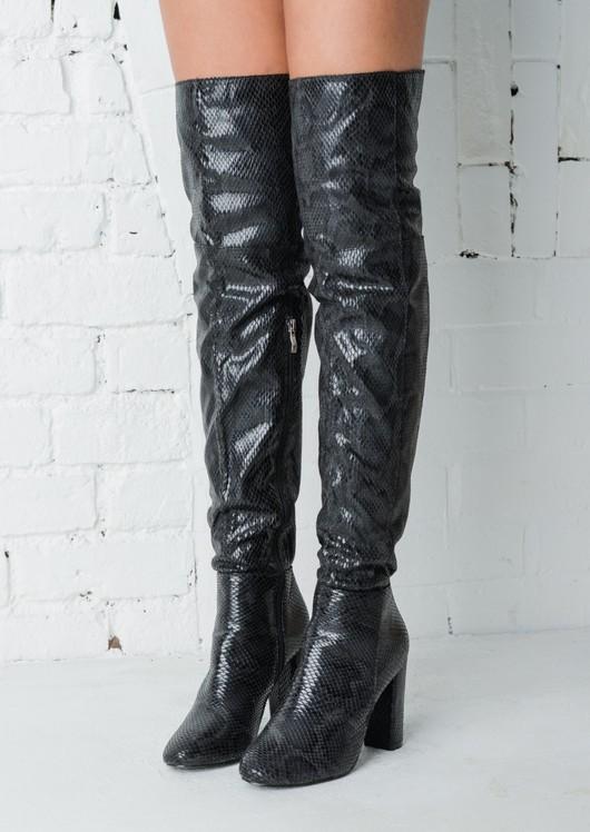 Snakeskin Effect Knee High Boots Black