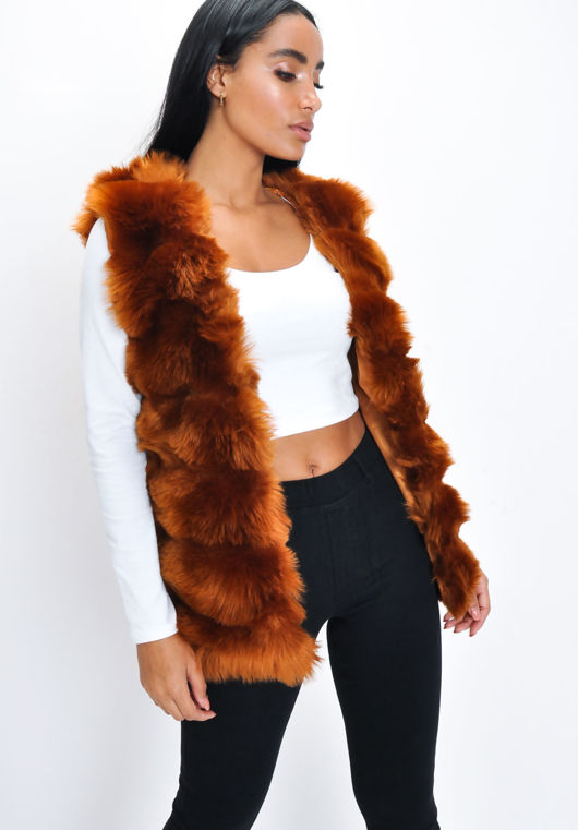 Soft Touch Faux Fur Fully Lined Gilet Camel Brown
