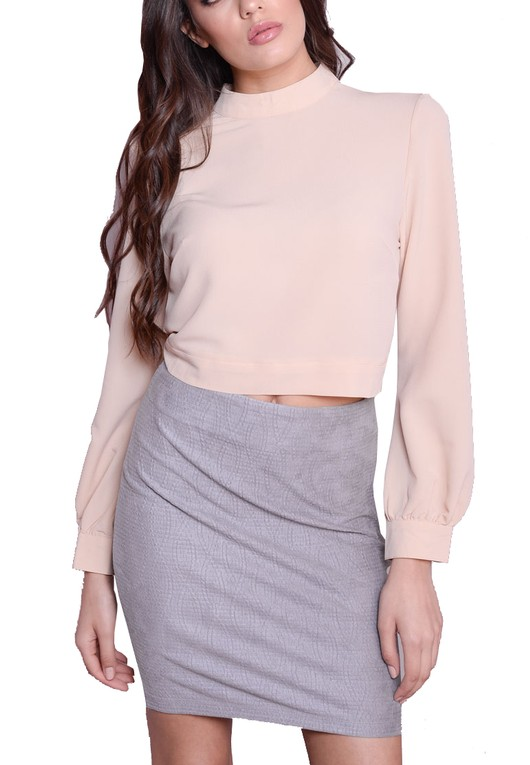 Split Tie Back High Neck Crop Top Nude