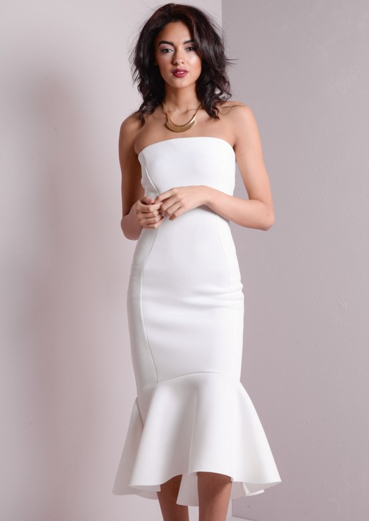Strapless Mermaid Fishtail Off Shoulder Maxi Bodycon Dress White
