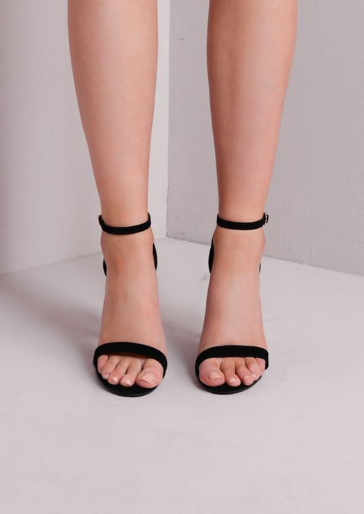 Strapped Suede Barely There Heeled Sandals Black