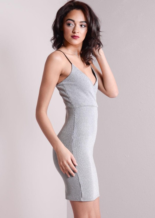 Strappy Knitted Bodycon Glitter Dress Silver