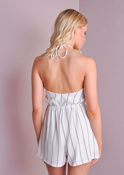 Striped Tie Halterneck Playsuit White