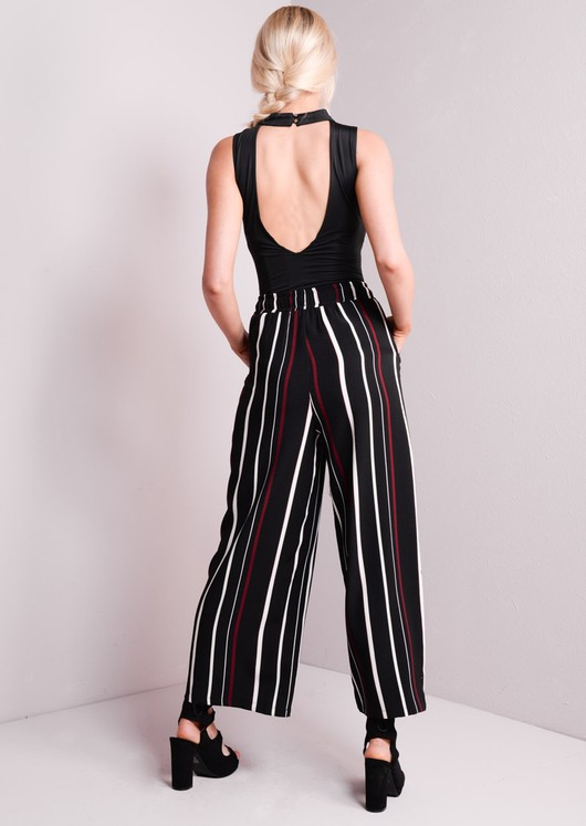 Striped Wide Leg Trousers Black