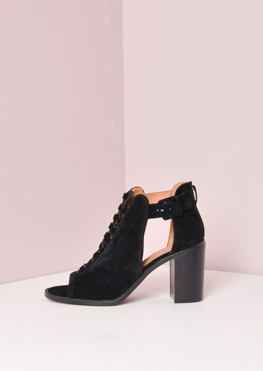 Suede Block Heel Lace Up Cut Out Sandals Black