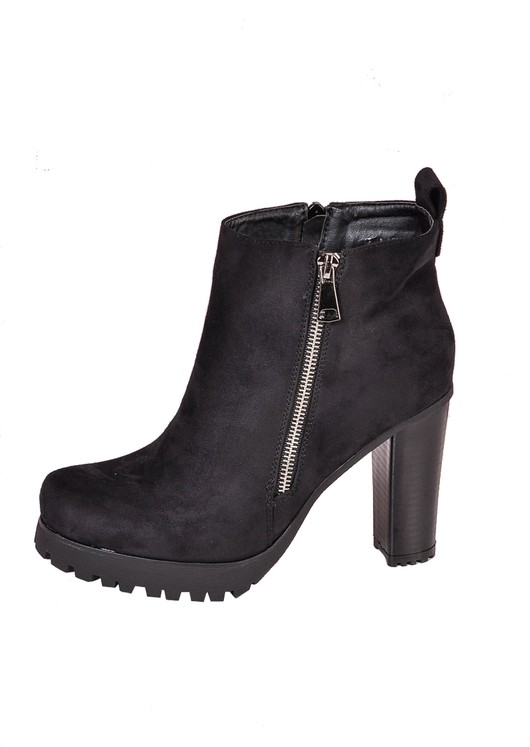 Suede Heeled Zip Ankle Cleated Heel Boots Black