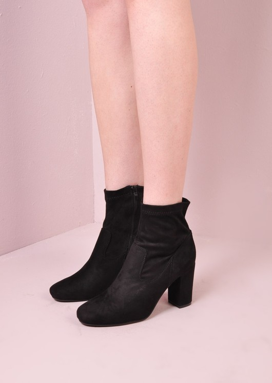 9d4d84f3f4b 60s Style Suede Ankle Sock Block Heel Boots Black