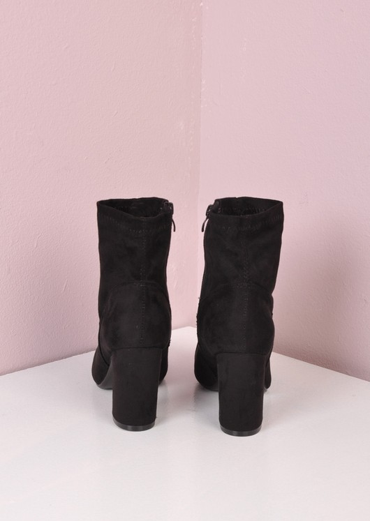Suede Heeled Ankle Sock Boots Black
