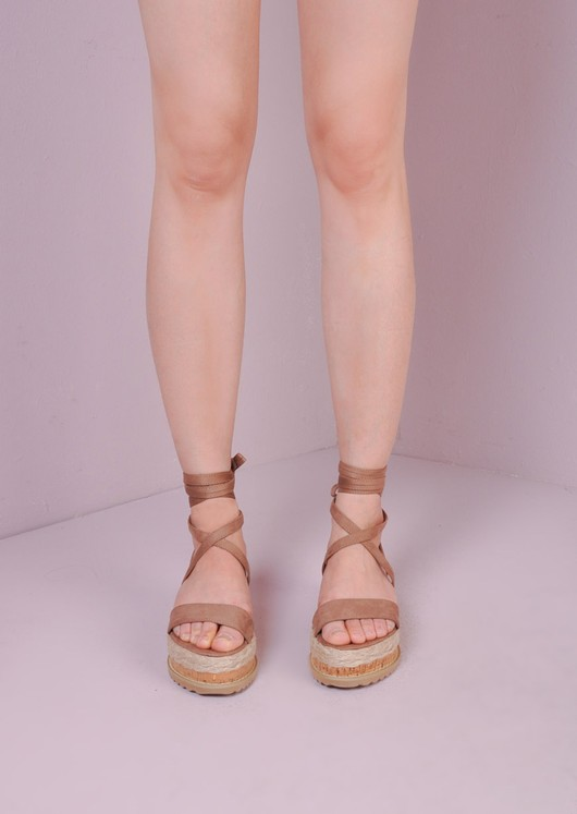 Suede Lace Up Braided Cork Wedge Sandals Mocha