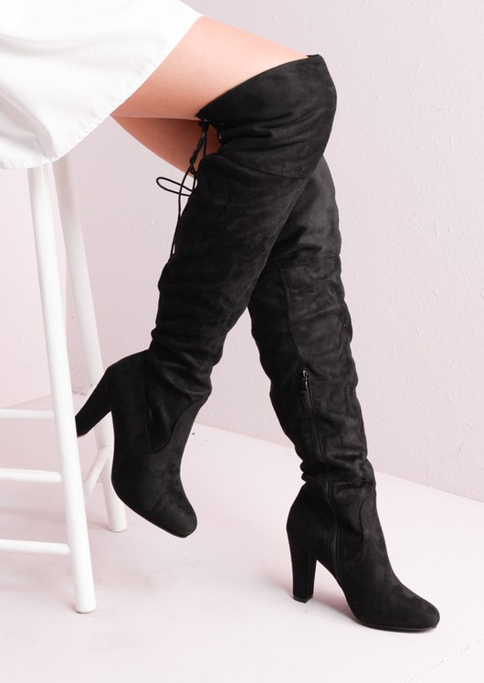 Suede Over the Knee Lace Tie Long Boots Black