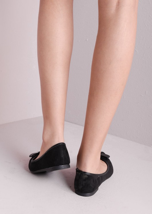 Suede Pointed Bow Slip On Pump Black