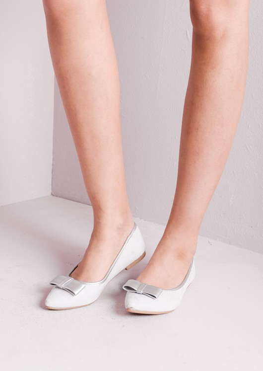 Suede Pointed Bow Slip On Pump Silver