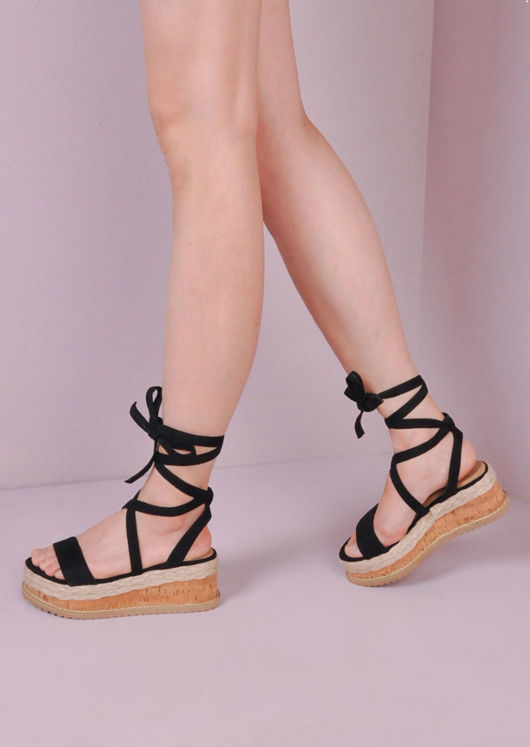19338a3fb8 Suede Lace Up Braided Cork Wedge Sandals Black | Lily Lulu