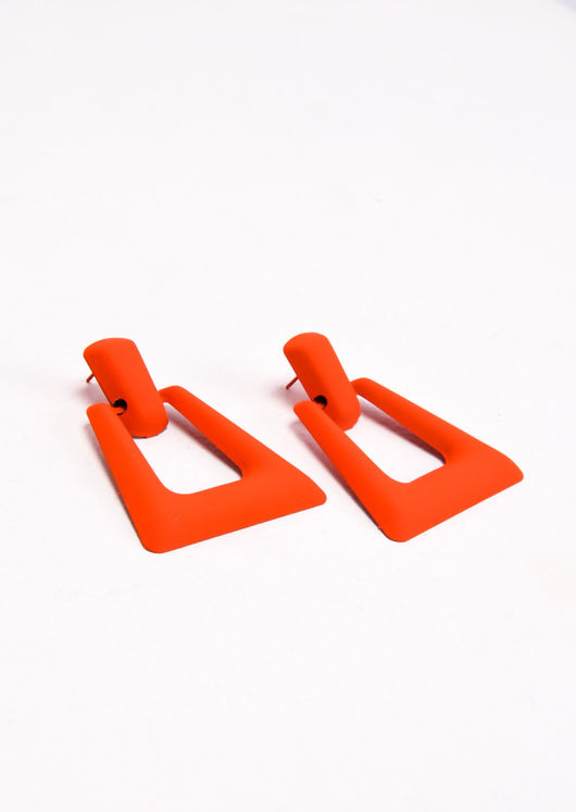 Chunky Square Drop Earrings Matte Neon Orange