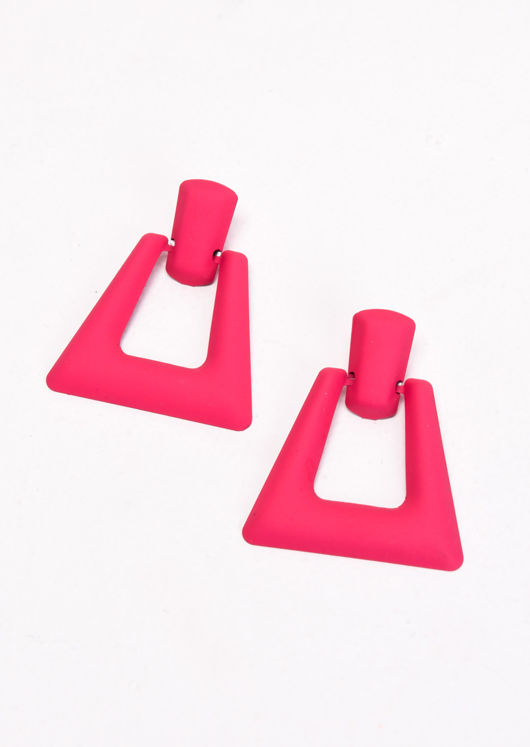 Chunky Square Drop Earrings Matte Neon Pink