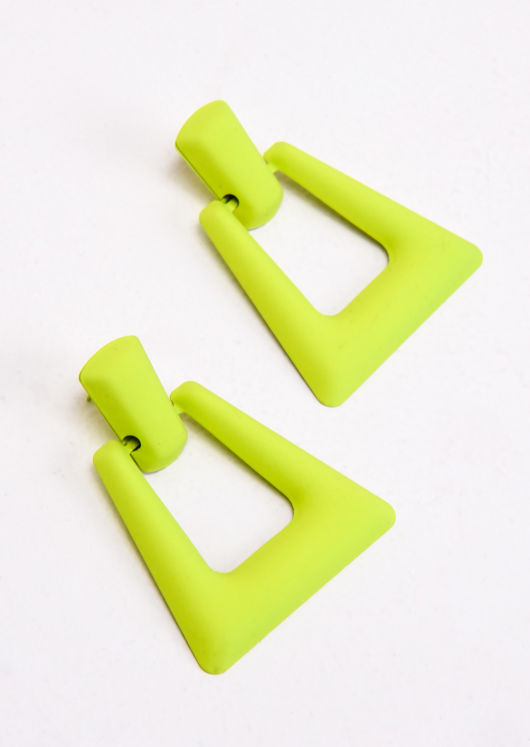 Chunky Square Drop Earrings Matte Neon Yellow