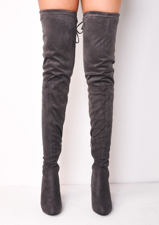bfdecc92e19 Thigh High Extra Long Block Heel Faux Suede Tie Back Boots Grey