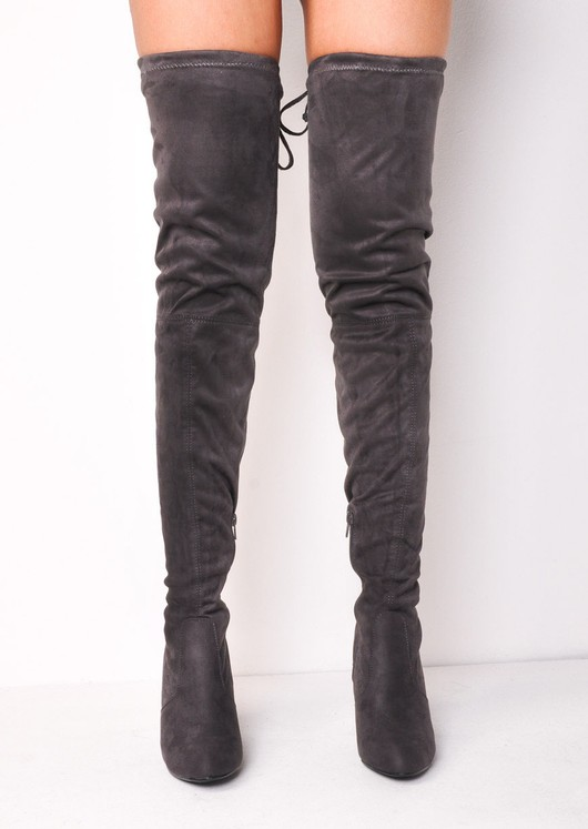 d08e592a8ad Over The Knee Faux Suede Thigh High Long Stiletto Heeled Boots Grey