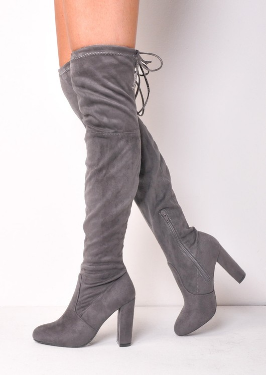 c8dd6a49047 Thigh High Over the Knee Tie Back Faux Suede Heeled Boots Light Grey